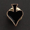 Fashion 1.7CM Unisex Golden Alloy Poker Brooch(Black,Red)
