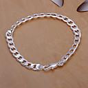 Sweet 20cm Womens Silver Copper Chain  Link Bracelet(Silver)(1 Pc)