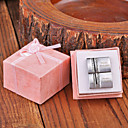 Personalized Gift Rectangle Silver Metal Engraved Cufflink with Rhinestone