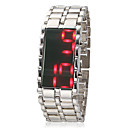 Mens Morror Face Red Led Digital Dial Steel Band Quartz Analog Wrist Watch