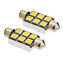 Festoon 2W 6x5050SMD 170LM 5500-6500K Cool White Light LED Bulb for Car (12V,2pcs)