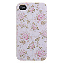 Pink Flower and Leaf Pattern PU Leather Full Body Case for iPhone 4/4S