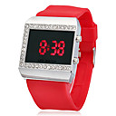 Womens Multi-Functional Diamante Square Dial Silicone Band LED Digital Wrist Watch (Assorted Colors)