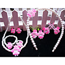 Girls Lovely Princess Pearl Jewelry Set(7 Pieces)(Random Color)