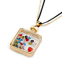 Fashion (Water Bottle Pendant) Assorted Color Rhinestone Pendant Necklace(Assorted Color) (1 Pc)