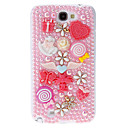 Pearl and Embossed FlowersButterflies Pattern Hard Back Cover Case with Glue for Samsung Galaxy Note2 N7100