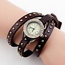 Womens Vintage Long Strap Leather Band Quartz Analog Wrist Watch (Assorted Colors)