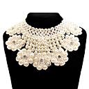 Fashion (Circle Pendant) White Imitation Pearl Collar Necklace(White) (1 Pc)