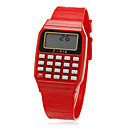 Unisex Rectangle Dial Rubber Band Lcd Digital Sport Watch (Random Color)