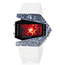 Mens Airplane Style Colorful LED Digital Ceramic Case White Silicone Wrist Watch