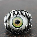 Gothic Silver Alloy Green Eye Mens  Statement Rings(1 Pc)