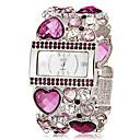 Womens Rectangle Dial Heart Shape Hollow Engraving Band Quartz Analog Bracelet Watch (Assorted Colors)
