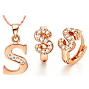 Alphabet Letter S Gold Silver Plated (NecklacesEarrings) Wedding Jewelry Sets