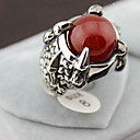 European Silver Alloy Dragons Claw Mens  Red Agate Statement Rings(1 Pc)