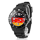 Mens Germany Flag Pattern Black Silicone Band Quartz Wrist Watch Football Cup Gift