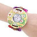 Womens Yellow Flower Pattern Wood Case Elastic Lovely Band Quartz Bracelet Watch