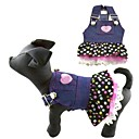Cutiest Polka Dot Style Chiffon Denim Cats Dogs Dress