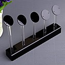 Fashion Five Row Round Plastic Jewelry Display Stand For Earrings (Black)