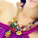 Lureme Vintage Colorful Flowers Gem Necklace