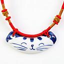 Sweet (Smiling Cat Pattern Ceramic Pendant) Red Fabric Pendant Necklace (1 Pc)