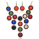 Lureme Vintage Colorful Resin Cicles Earrings Necklace Jewelry Set