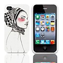 Woman Askant Pattern Hard Case with 3-Pack Screen Protectors for iPhone 4/4S