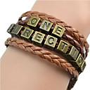 European Band 18cm Womens Brown Leather ID Bracelet(1 Pc)