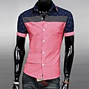 Mens Shirt Neck Floral Print Fashion Slim Casual Stitching Shirt