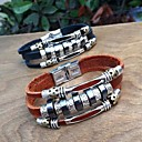 BaoGuangMens Punk Style Stainless Ring Three Layers Leather Bracelets(Assorted Colors)