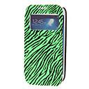 Twinkling Matte Skin Green Zebra Print PU Leather Full Body Case for Samsung Galaxy S4 Mini I9190