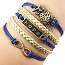 European Tag 22cm Womens Blue Leather ID Bracelet(1 Pc)