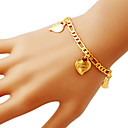 Figaro Chain Gold Filled Chunky Gold Plated Charms Hearts Bracelets Bangles LOVE YOU FOREVER Letters 5MM 21CM