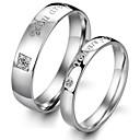 Han Edition Shining Diamond  Couples Titanium Steel Ring