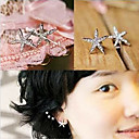 (Starfish) Silver Rhinestone Stud Earrings (1 Pair)