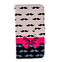 Mustache Bow Pattern PU Leather Soft Case with Card Slot and Stand for Samsung Galaxy S4 mini I9190