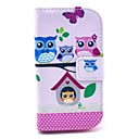 The Owl Family Cartoon Pattern PU Leather Case with Card Holder for Samsung Galaxy Trend Duos S7562