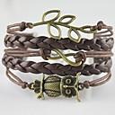 Multilayer Alloy Owl Leaf Infinite Charms Handmade Leather Bracelets