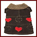 Stylish Heart Pattern Faux Suede Coat with Fur Collar for Pets Dogs