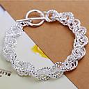 Sweet 21cm Womens Silver Copper Chain  Link Bracelet(Silver)(1 Pc)