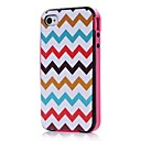 Color Wave Pattern TPU  PC 2-in-1 Hard Case Cover  for Apple  iPhone 4/4S