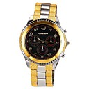 Mens Gold Dial Black Face Stainless Steel Band Quartz Analog Dress Wrist Watch