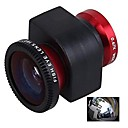 3-in-1 0.67X Wide Angle Lens Fisheye180 Degree Lens Macro Lens Set for iPhone4/4S-Red