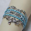 Vintage LOVE dream pair of lovebirds 18cm Unisex  Leather Wrap Bracelet(1 Pc)