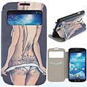 Sexy Hip Tattoo Pattern Clamshell PU Leather Full Body Case with Card Slot for Samsung S4 I9500