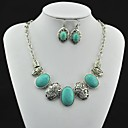Toonykelly Vintage Antique Silver Turquoise(Include Necklace and Earring) Jewelry Set (Green)