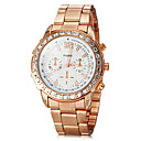 Womens Diamante Rose Gold Round Dial Steel Band Quartz Analog Wrist Watch (Assorted Colors)