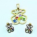 Fashion Colorful  Bear Stainless Steel(Include Pendent  Earring)Jewelry Set (Gold)