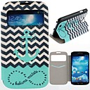 The Waves Ships Anchor Pattern Clamshell PU Leather Full Body Case with Card Slot for Samsung S4 I9500