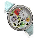 Womens Butterfly Pattern Diamond Case PU Band Quartz Analog Wrist Watch  (Assorted Colors)