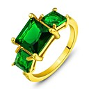 Hot Emerald Party Ring Vintage 18k Gold Filled Onyx Green Ring Design Cocktail Crystal Ring